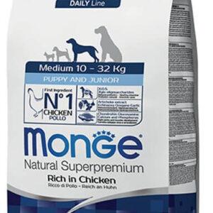 """מונג' גורים עוף ואורז לכלבים מגזעים בינוניים וגדולים 12 ק""""ג אריזת מקור"""