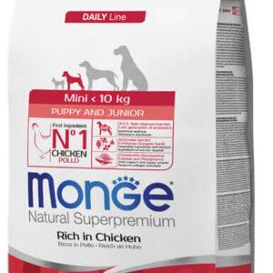 """מונג' מיני גורים עוף ואורז לכלבים מגזעים קטנים 3 ק""""ג אריזה מקורית"""