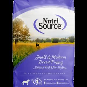 """נוטריסורס לגורי כלבים מגזע קטן / בינוני על בסיס עוף ואורז 2.3 ק""""ג אריזה קדמית חדשה"""